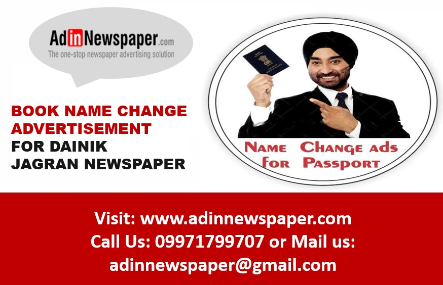 Make Change of Name Ad Booking in Noida via online mode to avoid