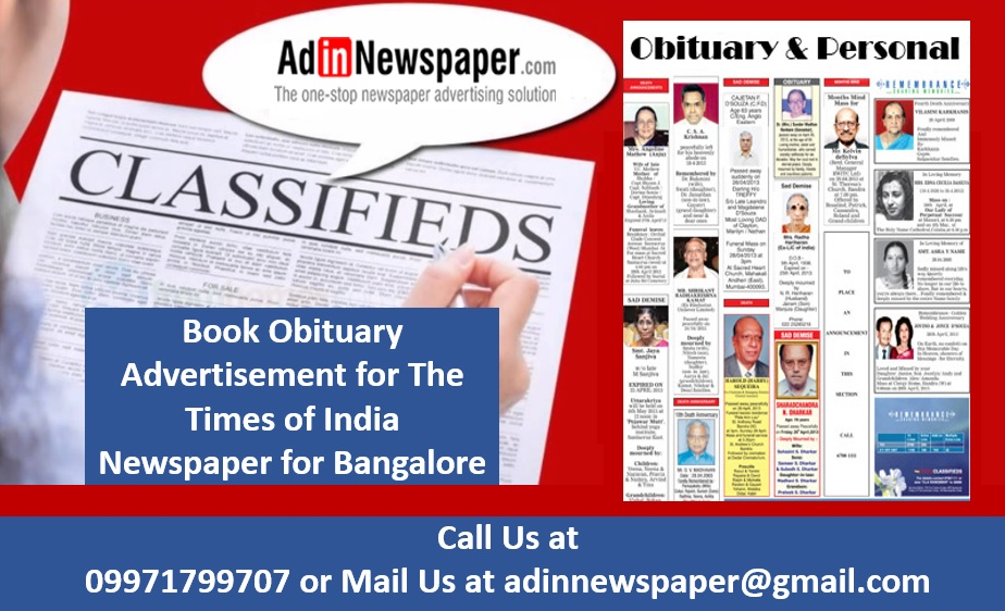 Choose Times of India for Obituary Ad booking in Bangalore