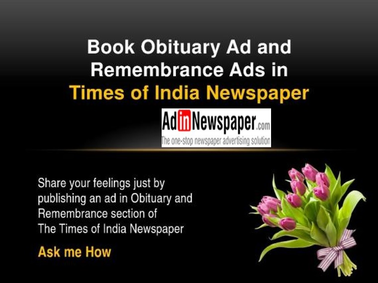 make online obituary ad in times of india for a hassle free process