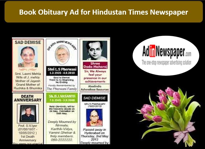 Hindustan Times Obituary Ads