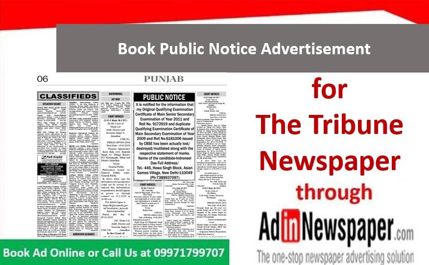 Public Notice Ads in The Tribune