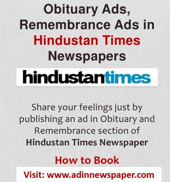 Hindustan Times Obituary Display Ads