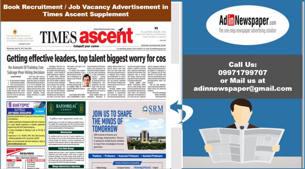 Times Ascent Ad Booking Online
