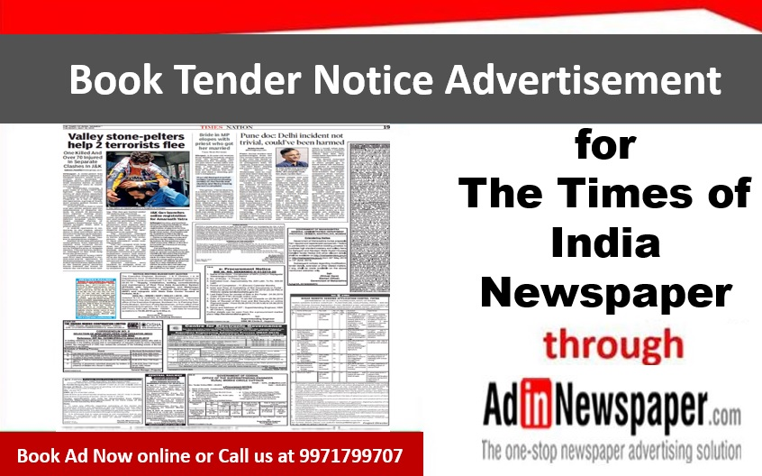 Times of India Tender Notice Ads